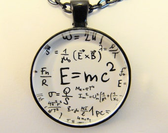 E = mc2 Necklace -- Theory of Relativity art, Einstein equation, Physics necklace, Energy, mass, speed of light, gravity, Universal constant