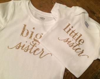 Gold Glitter Big and Little Sister Matching Outfits