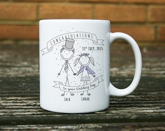 Personalised Bride and Groom Wedding Day Ceramic Mug