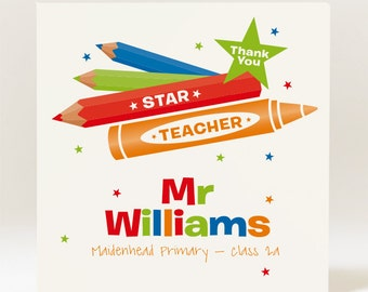 Personalised Thank You Star Teacher Card