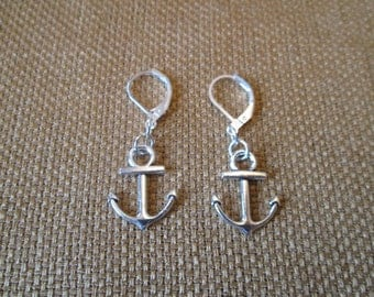 Silver Anchor Earrings By The Darling Duck