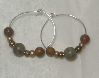 """Cynthia Lynn """"PUEBLO"""" Tan Brown Green Jasper Beaded Silver Plated Hoop Earrings 1.25"""""""