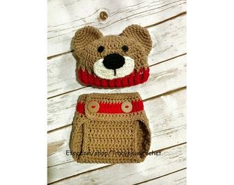 Teddy Bear photo set. Teddy Bear beanie with matching diaper cover. Crochet. Handmade to order.