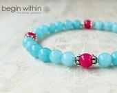 Heart Opening Amazonite Bracelet / Gemstone Bracelet / Crystal Healing Bracelet / Yoga Mala Bracelet
