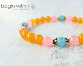 Spread The Joy Jade Bracelet / Orange Gemstone Bracelet / Crystal Healing Bracelet / Reiki Bracelet