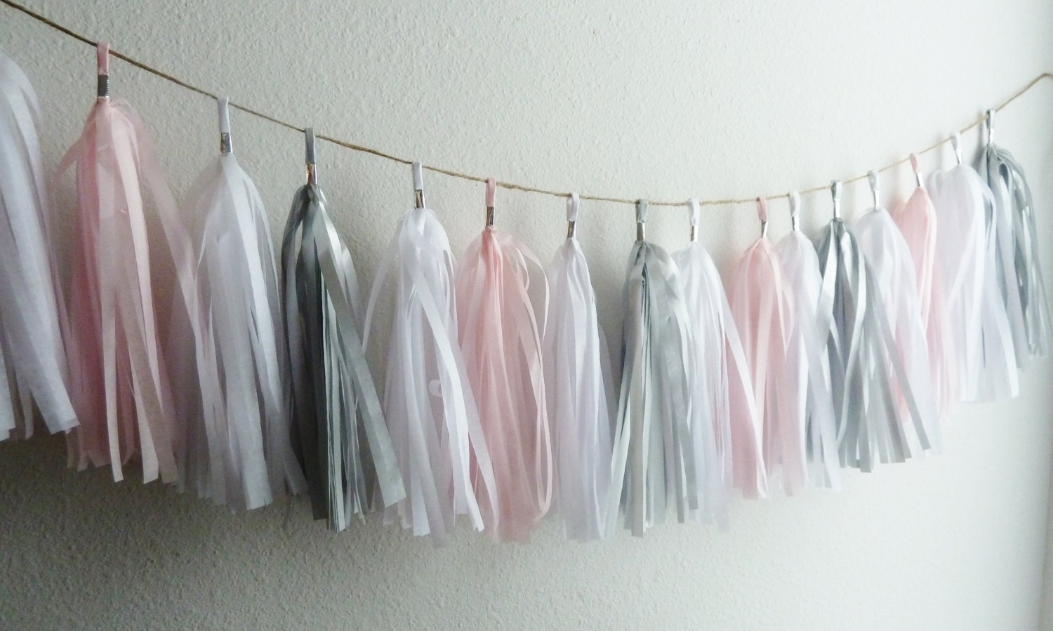 Soft Light Pink Grey Gray Silver Tassel Garland Wedding Banner