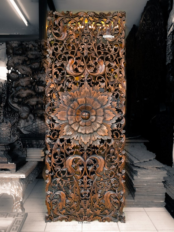 Teak Wood Carving Wall Sculpture Panel. Perfect For by ...