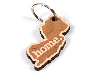 New Jersey Key Charm by Home State Apparel: Laser Engraved Wood Keychain, NJ
