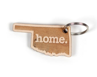 Oklahoma Key Charm by Home State Apparel: Laser Engraved Wood Keychain, OK