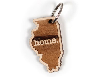 Illinois Key Charm by Home State Apparel: Laser Engraved Wood Keychain, IL