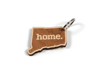 Connecticut Key Charm by Home State Apparel: Laser Engraved Wood Keychain, CT