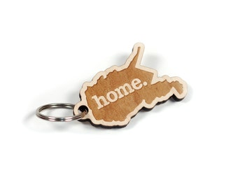 West Virginia Key Charm by Home State Apparel: Laser Engraved Wood Keychain, WV