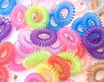 50 pcs Mixed color  large size telephone line hair ties, plastic hair ties, ponytail holders