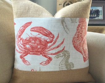 Coral sealife burlap coastal pillow cover 18x18