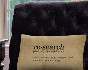 """Research  Definition Pillow Cover - 12"""" x 18"""" - Zipper Enclosure - Machine Washable- Geeky Pillow Cover"""