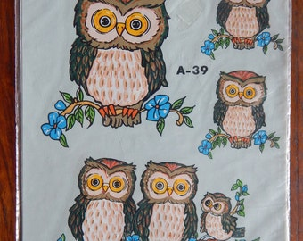 vintage OWLS A-39, water decal, 1979 DecORAL INC.