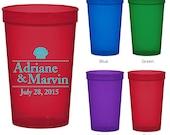 22 oz Custom Translucent Plastic Cups (Clipart 1507) Seashells - Personalized Wedding Cups - Wedding Favors - Stadium Cups