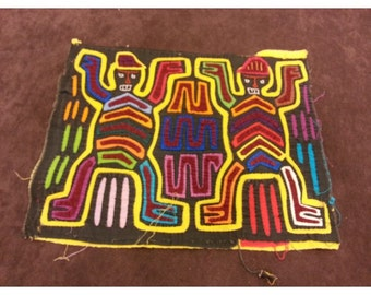 Mola From Panama-Small Multi-Colored Double Totem Design- 9x 11 inches