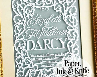Pride and Prejudice Elizabeth and Darcy wedding   Papercut Template for Experienced Cutters. Personal or limited Commercial use