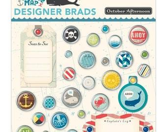 October Afternoon Treasure Map Designer Brads - Decorative Brads