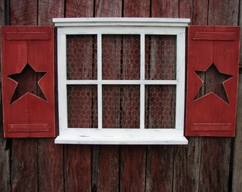 """Hand made 6 pane  window frame with shutters  24"""" tall X 27"""" wide pine"""