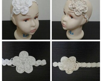 Crochet Headband with flower,White or Off White  Baby Headband, Baby Crochet Headbands, Crochet Baby Girl Hair Band