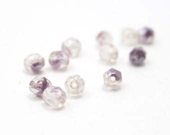 Light Purple and Silver Czech Crystal Faceted 6mm 12pcs