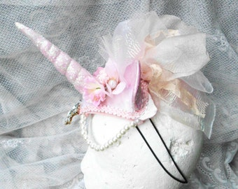 Unicorn Headdress, Unicorn Headpiece, Pink Unicorn Horn, Unicorn Horn Headband, Unicorn Costume, Horn Headdress, Burlesque, Unicorn Horn