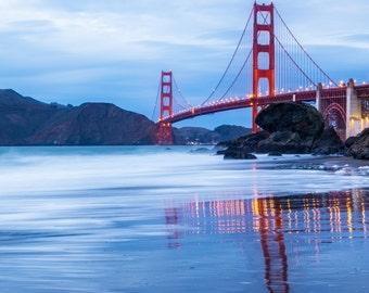 Golden Gate Bridge Photo - San Francisco Art - Golden Gate Bridge San Francisco Print - California Beach Art - Blue, Red