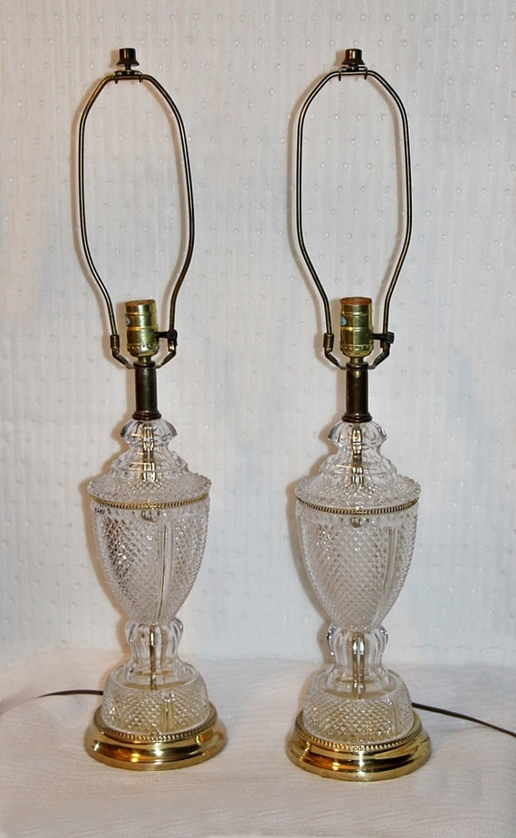 Vintage Pair Lead Crystal Brass Lamp By Queenieseclectic