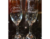 Etched wedding champagne flutes/ champagne flutes/personalized flutes/etched flutes/wedding flutes/ anniversary flutes/etched glass/bride