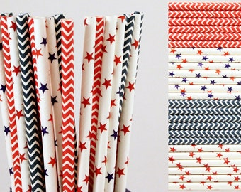 4th of July Paper Straw Mix-Red White and Blue Straws-Star Straws-Chevron Straws-Party Straws-Patriotic Straws-Mason Jar Straws-Paper Straws