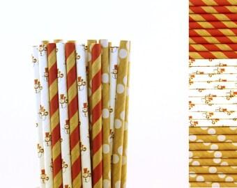 Snowman Paper Straw Mix-Red Straws-Kraft Straws-Snowman Party Straws-Christmas Party Straws-Hot Chocolate Straws-Polka Dot and Striped Straw