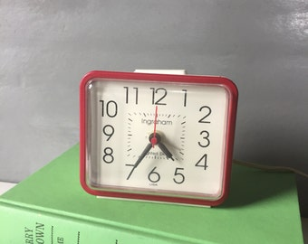 Vintage Red and White Ingraham Electric Alarm Clock