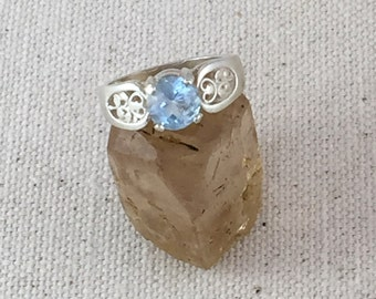 Multi-Faceted Sky Blue Topaz Ring in Sterling Silver