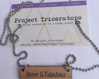 SALE Queer & Fabulous charm necklace.