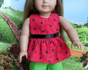 18 Inch Doll Outfit, Red Watermelon Ruffled Top, Green Dotted Capris, fits 18 Inch dolls such as American Girl dolls