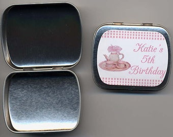 6 Tea party favor mint tins unfilled with personalized stickers