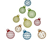 Christmas ornaments set embroidery design 3D effect. Spheric bauble embroidery design set, save 40%. Holiday Christmas tree embroidery.