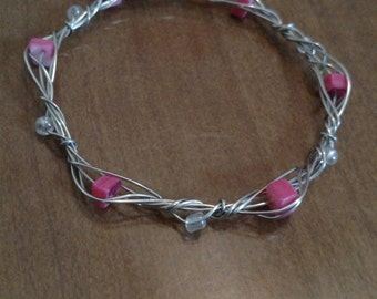 Pink and silver Wire wrapped Bangle