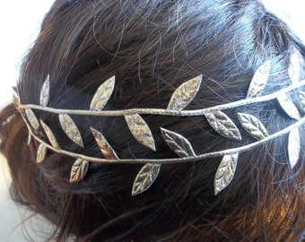Grecian Style Headband - Gold Leaf Headband - Olive Leaf Headband - Flower Girl Headband - Toga Party - Greek Crown -  Roman Headpiece