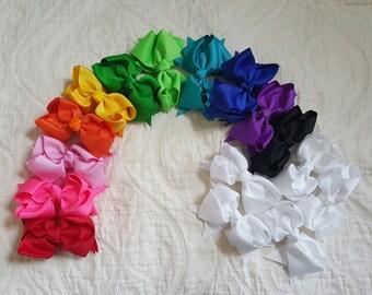 3 Grosgrain Boutique Bow Lace Headband or Hairclip.  Set of 3. Newborn bow.  Newborn Headband.