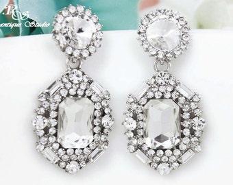 Crystal earrings, wedding earrings, bridal earrings, square stone dangle earrings, bridesmaid earrings, bridal jewelry, wedding jewelry 1300