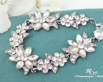 Bridal bracelet statement bracelet cuff crystal wedding bracelet vintage style prom rhinestone bracelet bridesmaid bracelet - B0154
