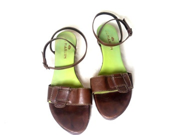 vintage JB MARTIN brown leather wedge platform sandals  , Size :  eu 40 / uk women's 6 1/2 / us women's 9