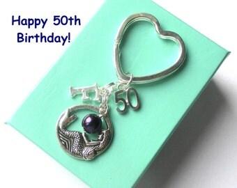 Personalised 50th birthday gift - Mermaid keychain - 50th gift - 50th keychain - Mermaid keyring with pearl - Sister gift - Friend - Mum