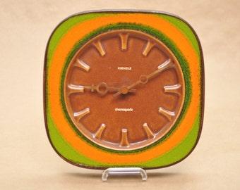 Kienzle clock - West German pottery - vintage kitchen clock - 1970s - Herbolzheimer - orange & green