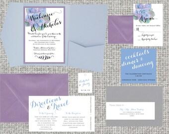Watercolor Succulent Wedding Pocket Invitation Suite • 85+ colors • Pocketfold • SAMPLE