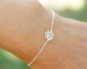 Tiny Sterling Silver Lotus Bracelet or Anklet, bridesmaid gift, wedding, bridal, simple, everyday