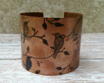 Bird with Leaves and Branches Copper Cuff